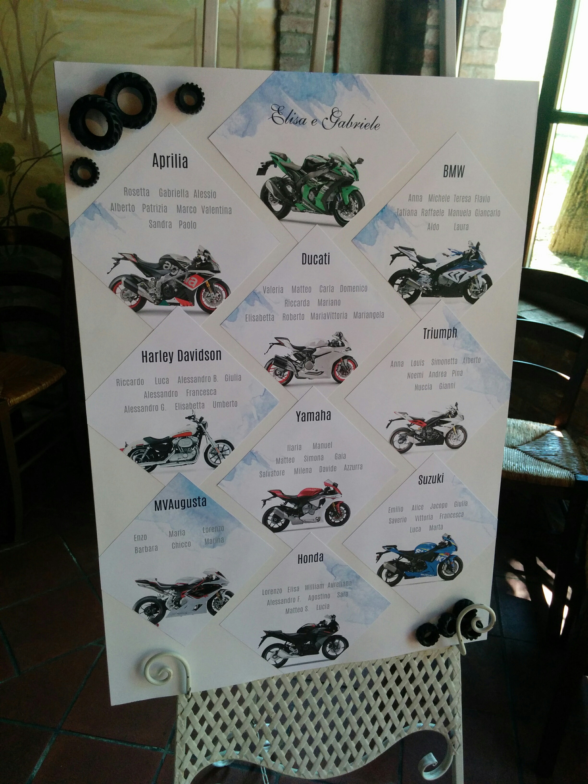 Matrimonio Tema Moto : Tableau mariage tema moto